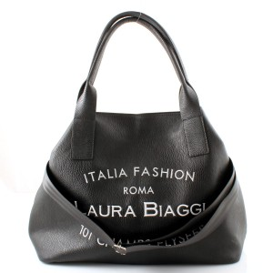LAURA BIAGGI MUST HAVE CZARNY BIG SHOPPER BAG HAFT