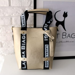MUST HAVE LIGHT GOLD SHOPPER SPORTOWE SMYCZE LAURA BIAGGI